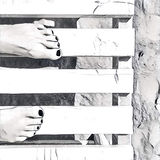 Woman`s feet on white wooden bench. Beach day monochrome digital illustration. Woman`s feet on white wooden bench. Beach day abstract digital illustration Stock Photography