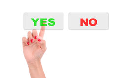 Woman's Finger pressing the Yes key Royalty Free Stock Photography