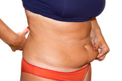 Woman's fingers measuring her belly fat Royalty Free Stock Photos