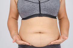 Woman's fingers measuring her belly fat Stock Image