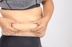 Woman's fingers measuring her belly fat Royalty Free Stock Photo