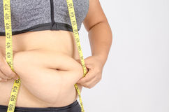 Woman's fingers measuring her belly fat Stock Images