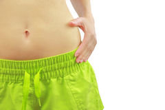 Woman's fit belly stock image