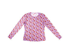 Woman's Floral Crew Neck Shirt Isolated. Pretty crew neck with small flowers isolated on white stock image