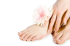 Woman's foot and hand with flo. Wers isolate on white Royalty Free Stock Photo