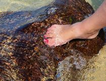Woman's foot in the water Royalty Free Stock Images