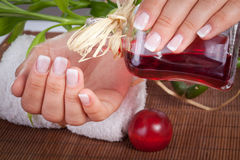 Woman's french manicure Stock Photography