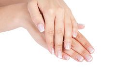 Woman's french manicure Stock Image