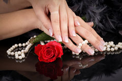 Woman's french manicure Royalty Free Stock Images