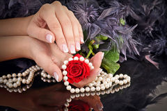 Woman's french manicure Stock Photos
