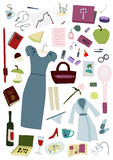 Woman's full day items set Royalty Free Stock Image