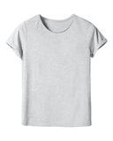 Woman`s gray t-shirt with copy space isolated on white Stock Photos