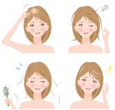 Woman's hair problems Stock Images