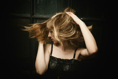 Woman's Hair in a Swirling Wind royalty free stock photography