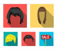 A woman`s hairdo, a man`s hairstyle.Beard set collection icons in flat style vector symbol stock illustration web. A woman`s hairdo, a man`s hairstyle.Beard set stock illustration