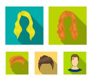 A woman`s hairdo, a man`s hairstyle.Beard set collection icons in flat style vector symbol stock illustration web. A woman`s hairdo, a man`s hairstyle.Beard set royalty free illustration