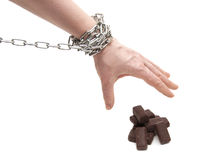 Woman's hand in chains Stock Images