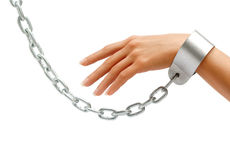 Woman's hand in chains. Isolated on white background. Close up, concept against violence Stock Photos