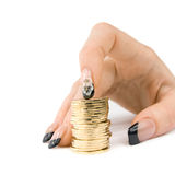 Woman's hand with coins Royalty Free Stock Photo