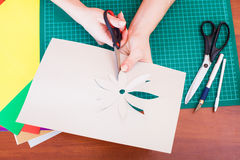 Woman's hand cutting out flower Royalty Free Stock Photography
