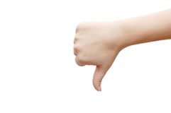 A woman's hand with disapproval gesture. Isolated Royalty Free Stock Photo