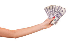Woman's hand and dollars. Royalty Free Stock Photos