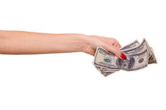 Woman's hand and dollars. Royalty Free Stock Photography