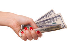 Woman's hand and dollars. Stock Photography