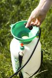 A woman`s hand doses the amount of the agent by pouring into the sprayer. The woman pours a chemical agent into the sprayer. Green healthy grass in the royalty free stock photography