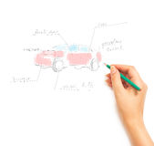 Woman's Hand draws a car isolated on white Stock Photo