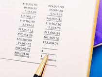 Woman's hand with the financial statements Royalty Free Stock Photo
