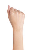 Woman's hand with fist gesture back side. Stock Photo
