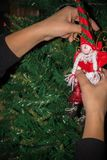 Woman`s hand fixing up some Christmas Decorations among the bran. Ches of a Christmas Tree on Blur Background stock image