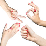 Woman's hand gesture on white background Royalty Free Stock Photos