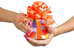 Woman's  hand with a gift box Stock Images