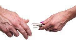 Woman's hand giving keys Royalty Free Stock Photos