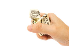 Woman's hand grip a Crumpled One Dollar billใ Stock Photography