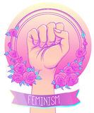 Woman's hand with her fist raised up. Girl Power. Feminism conce Royalty Free Stock Photography