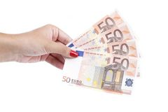 Woman's hand hold banknotes of euro. Stock Image
