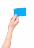 Woman's hand hold blank card Stock Photos