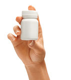 Woman's hand holding bottle for pills Royalty Free Stock Photo