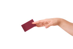 Woman's hand holding a business card Stock Images