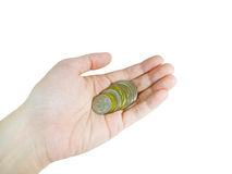 Woman's hand holding coins (with clipping path) Stock Photography