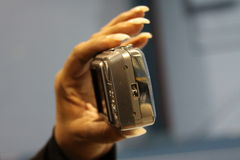Woman's Hand Holding Digital Camera Royalty Free Stock Photography