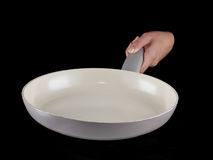 Woman's hand holding a frying pan. Royalty Free Stock Photos