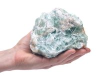 Woman`s hand holding Green Apophyllite Cluster in matrix. Isolated on white background Stock Photo
