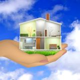 Woman's hand holding a house cut with interiors. Vector illustration Stock Image
