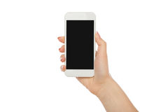 Woman`s hand holding mobile phone, crop, cut out stock photos