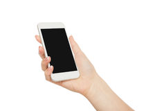 Woman`s hand holding mobile phone screen, crop, cut out royalty free stock images