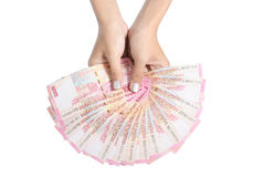Woman's hand holding money Stock Photos